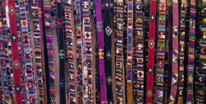 Leather belts from Totonicapan Guatemalan leather and fine colored cotton thread